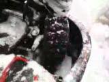 kar lastiği ile buzda yarışa hazırlık