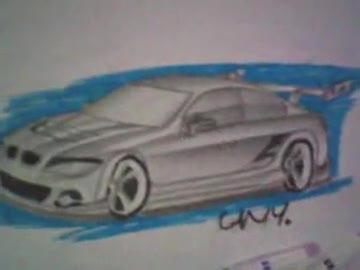 süper bilgisayar ve kara kalem araba çizimler