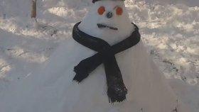 Kardan adam yaptik doğada kar manzaraları