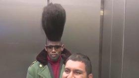 Asansöre Binen Sıra Dışı Saçlı Zenci Eleman