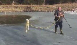 Donmuş Göle Düşen Köpeği Kurtaran Yüreği Güzel İnsan