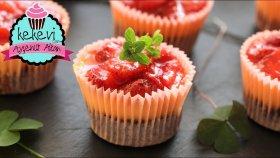 30 dk. Browni Tabanlı Çilek Soslu Mini Cheesecake ( Bayılacaksınız : ) Ayşenur Altan Yemek Tarifleri