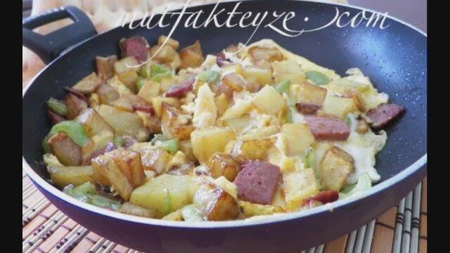 Patatesli biberli sucuklu