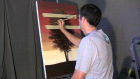Her Mevsime Göre Ağacı Farklı Çizim Tekniğiyle Kademeli Olarak Çizen Ressam
