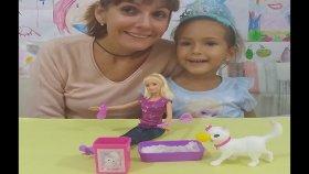 Elif ve barbie pamuk kediciğe tuvalet eğitimi veriyor.Barbie güzel oyuncak , eğlenceli çocuk videosu