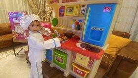 Elife büyük mutfak , ocaklı fırınlı eğlenceli çocuk videosu , toys unboxing