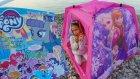 Plajda Elsa çadır ve my little pony dergi açtık , eğlenceli çocuk videosu