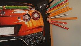 Detay Çizimi Nissan Skyline GTR R35 | Speed Drawing