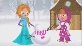 Maşa ile Koca Ayı - Maşa ve Elsa Kardan Adam Yapıyor